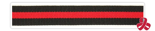 a sample of webbing - black with a red stripe