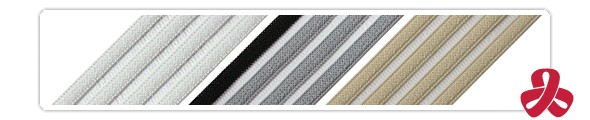 monofilament elastic - samples: grey, white, beige